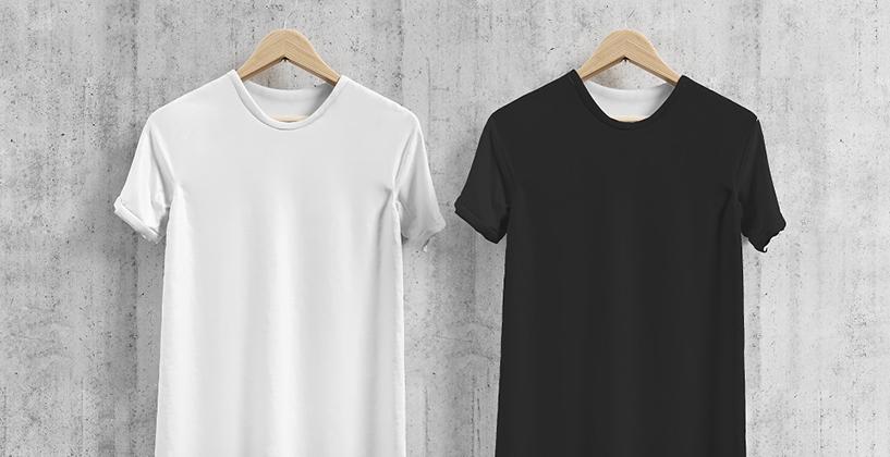 白と黒の綿100%Tシャツ
