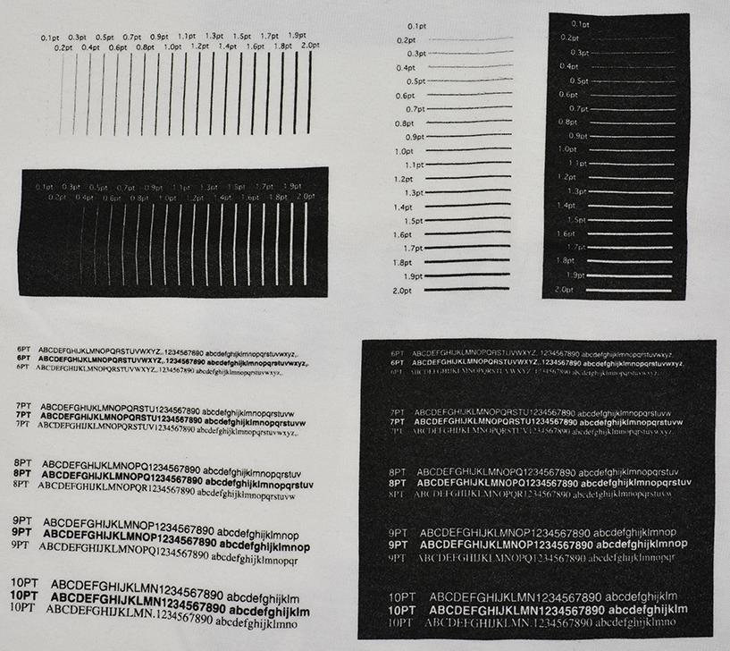 白地Tシャツの級数表と印刷限界値サンプル